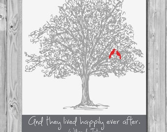Custom Wedding Tree Print, And they Lived Happily Ever After, Wedding Tree Art Print Gift - 137