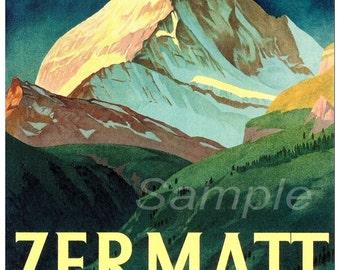 Vintage Zermatt Switzerland Travel Poster Print