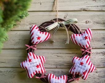 Christmas Stripe Wicker Wreaths