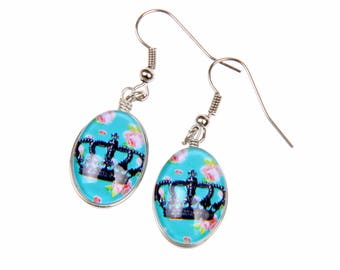 Crown Earrings,  Double sided cabochon (1318B)