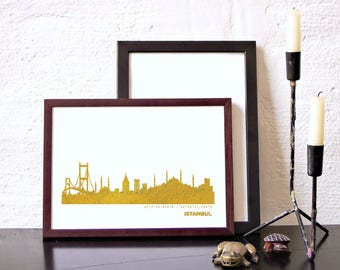Gold ISTANBUL Poster, ISTANBUL gold skyline, custom gold print, ISTANBUL illustration artwork, anniversary gift, wedding gift, hostess gift