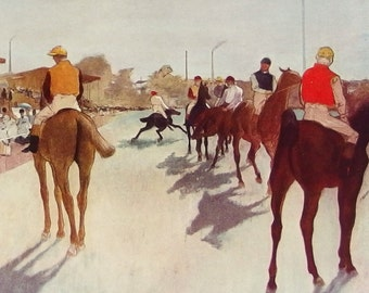 At the Race Course, by Degas - a Frameable, Vintage 1952 Frameable Art Print