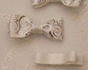 Silver and White Baby bow set