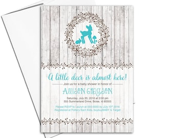 woodland baby shower invitation gender neutral, deer baby shower invite, rustic wood invitation teal - PRINTED - WLP00755