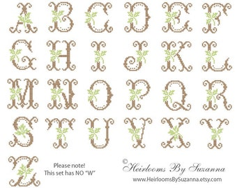 Antique Machine Cross Stitch Leaf Monogram Set - Machine Embroidery - Cross Stitch Monogram - Antique Initials - Leaf Monogram - 4 x 4 hoop