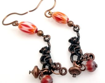 Copper Monkey Earrings with Orange and Copper Tribal Style Beads NE252