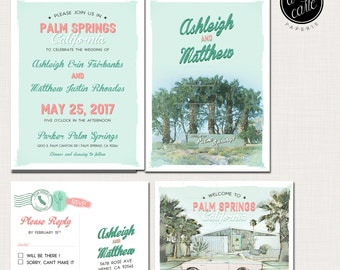 Destination wedding invitation Palm Springs California Desert  illustrated wedding invitation Suite - Deposit Payment