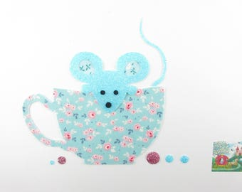 Applied fusing mouse Teacup fabric liberty blue flex glitter patch liberty fusible iron-on applique