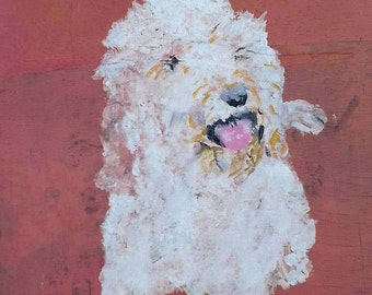 funny floof.oil painting on recycled wood.