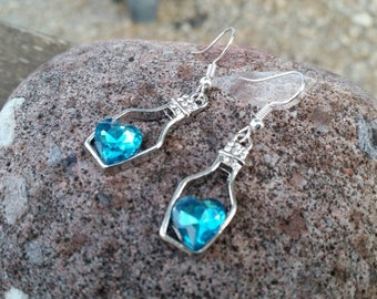 Bright Blue Love Potion Charm Earrings with Crystal Hearts and Rhinestones - Gifts for her - Valentine's Gift Ideas