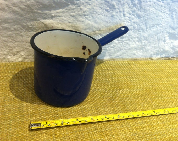 Antique Enamel Can Rare decorativ object blue