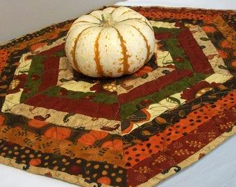 Fall Table Topper Quilted Autumn Hexagonal Quiltsy Handmade FREE U.S. Shipping