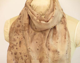 "Natural Dye Silk Scarf - Botanical Ecoprint - Maple Sumac Willow Bark - HA14121714 -  approx. 14""x70"" (35 x 177cm)"