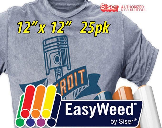 """12"""" * x 12"""" / 25-pk  Siser EasyWeed HTV- Heat Transfer Vinyl"""