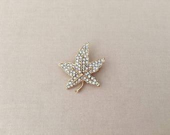 Small Leaf Brooch.Leaf Rhinestone Brooch.Leaf Brooch.Leaf Crystal Brooch.Leaf pin.Gold Leaves.Autumn Leaf Brooch.Fall Leaf Brooch.Maple Leaf