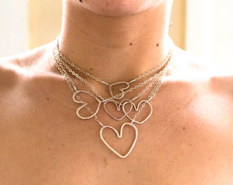 Silver Hammered Heart Necklace 18""