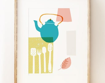Abstract kitchen wall art print 'Blue Kettle'. Graphic art poster. Contemporary art.