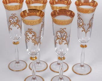 6 Rare Czechoslovakia made Encrusted Champagne Flutes Stem Glasses-Glassware