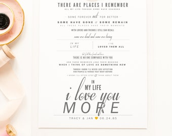 Beatles - In My Life (I Love You More) - Grey and Yellow- Valentine's, Wedding Gift, Paper Anniversary Gift, Song Lyrics, Art Print