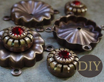 DIY KIT 3 Swarovski Crystal 4 Ring Connectors Siam Ruby Crown 10mm Vintage Brass 18mm Round Square Bracelet Necklace Aged Bronze Patina 13L