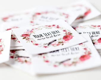 Floral Wreath Labels - Iron On Tags with Watercolor Flowers, Personalized