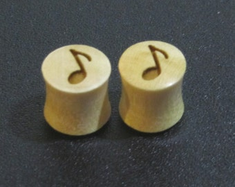Handmade Organic Wood Ear Plugs with Music Notes - You Choose Wood Color and You Size from 9/16 - 30mm - Brand New