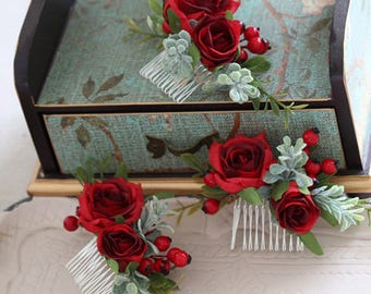 Rene Burgundy Silk Rose Hair Comb // Wedding / Prom / Bridesmaids / Flower girl / Coachella / Photoshoot