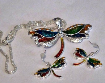 Dragonfly Necklace and Earring Set-SALE