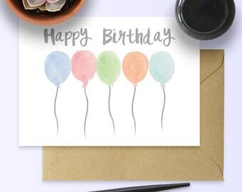 Watercolour Balloon Card - Printable Birthday Card