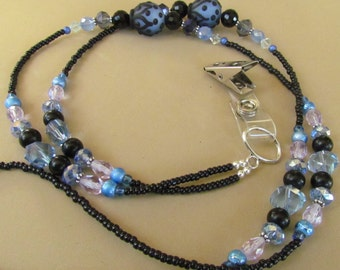 Beaded ID Lanyard, Blue and Black, Lampwork, Badge Holder, Jewelry, Work Id, Gift Giving, Gift for Her, Fashion, Harleypaws, SRAJD