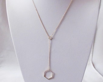 gold hexagon necklace geometric necklace lariat necklace minimalist jewelry