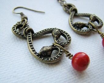 Snake earrings   serpent   brass   tribal   red   bohemian   heart   final sale
