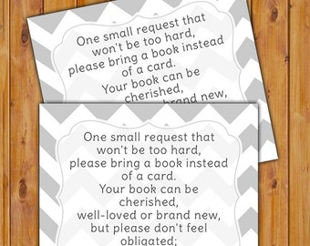 Book instead of a Card, Book Request Insert Card, In Lieu of card, Baby Shower Inserts Grey Chevron Printable PDF--Instant Download