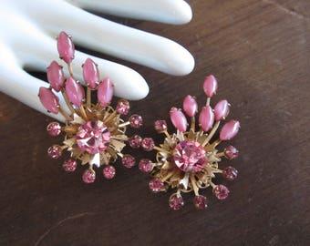 Pink Rhinestones Vintage Earrings-Statement Earrings-Climbers