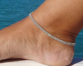 Silver Beaded Anklet, Sapphire Daisy Chain Ankle Bracelet, Seed Bead Anklet, Summer Fashion, Beach Anklet, Beadwork Jewellery,