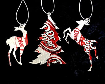 Recycled Dr Pepper Diet Dr Pepper Soda Can 3-Piece Christmas Ornament Set