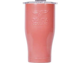 Personalized Orca Coolers High Gloss 27oz, Stainless Steel, Coral with Clear Lid
