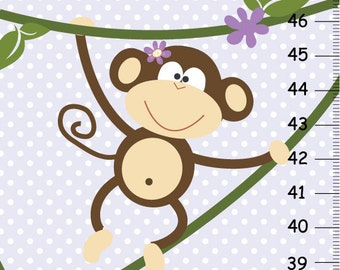 Girl Monkey Canvas Growth Chart in Lavender