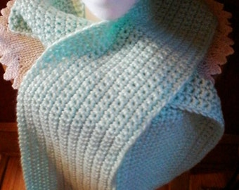 Crocheted Teal Color Scarf
