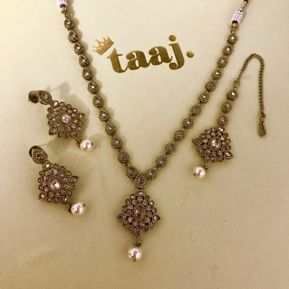 Mahi Gold and pearl zirconia necklace earrings and tikka set indian jewellery Pakistani bridal partywear
