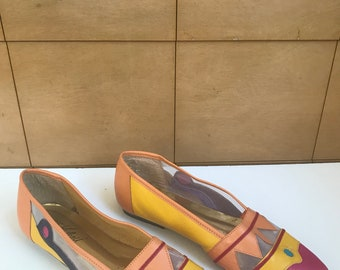 Funky Geometric Colorful Leather Flats