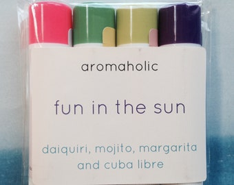 Fun in the Sun lip balm gift set - Margarita, Daiquiri, Mojito and more lip balms - cocktail lip balms