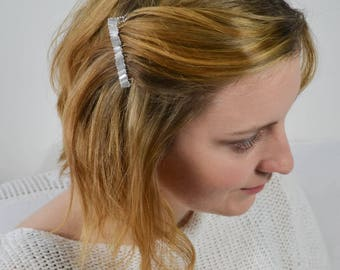 Bridal Haircomb LED Iriscent White Rocailles Stab Beads Wedding