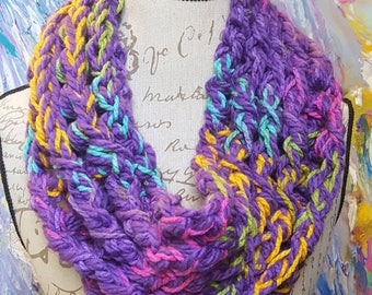 Chunky Rainbow Rope Purple Cowl-Med