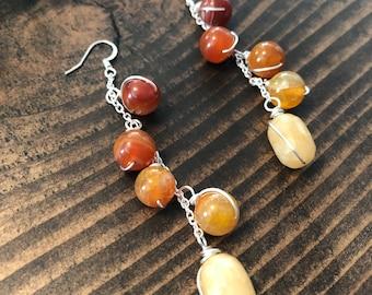 Honey Quartz and Orange Agate Earrings