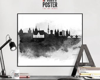 Prague print Prague skyline poster Prague black & white watercolour, travel gift, art prints, home decor, iPrintPoster