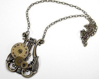 Steampunk Jewelry, Steampunk Necklace - MUSICAL LYRE, HARP Necklace,  Steam punk Antique Brass Gears Steam punk