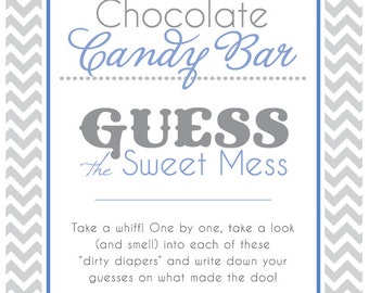 Baby Shower Sign For Guess The Sweet Mess Candy Bar Game! Dirty Diaper Game!