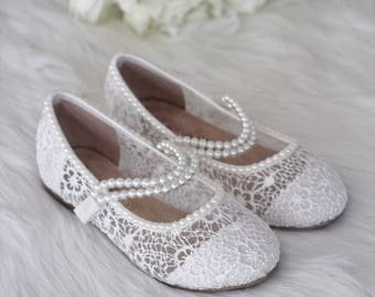 White Crochet GIRLS SHOES with PEARLS straps -Flower Girl Shoes, Baptism shoes, Christening Shoes