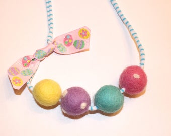 Easter Eggs Felted Wool Ball Necklace